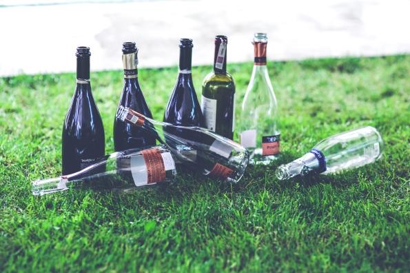 Seven empty wine bottles on the grass